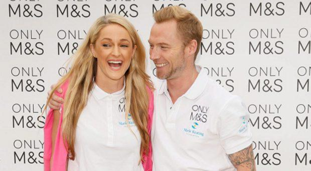 Ronan Keating and Storm Uechtritz at the 2015 Marks & Spencer Ireland Marie Keating Foundation Celebrity Golf Classic