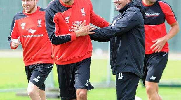 Brendan Rodgers during Liverpool training