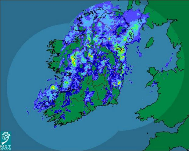 The latest rainfall radar Credit: Met Éireann