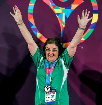 Team Ireland's Anne Hoey, a member of Drogheda Special Olympics Club, from Drogheda, Co Louth, celebrates after being presented with a Silver Medal for Bocce at the LA Convention Center