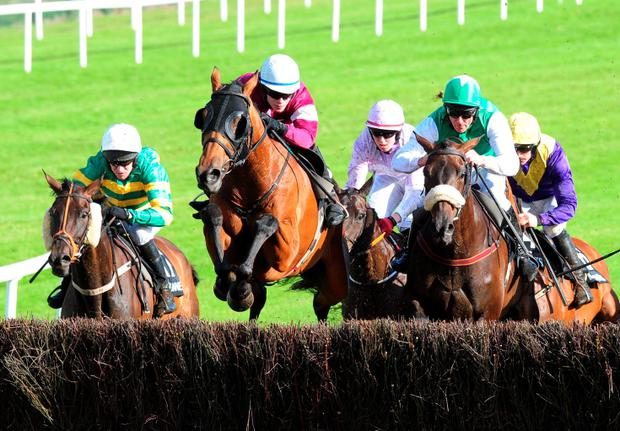 The blinkered Rouge Angel, under David Mullins (centre), sails over the final fence on the way to winning last night's Guinness Galway Blazers Chase