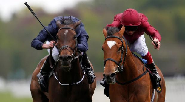 Star Of Seville (right) gets the better of Together Forever at York in May – she can strike again in today's Nassau Stakes