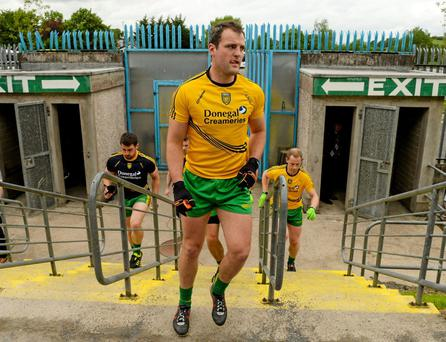 Michael Murphy– here getting ready for the Derry game in Clones – has been operating in a roving role and as a result, he has not been scoring freely