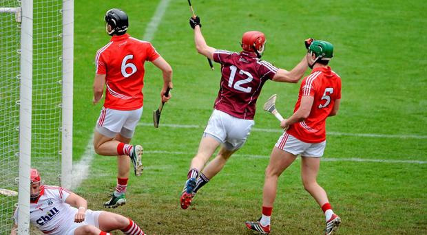 Johnny Glynn celebrates scoring for Galway against Cork at Semple Stadium last weekend