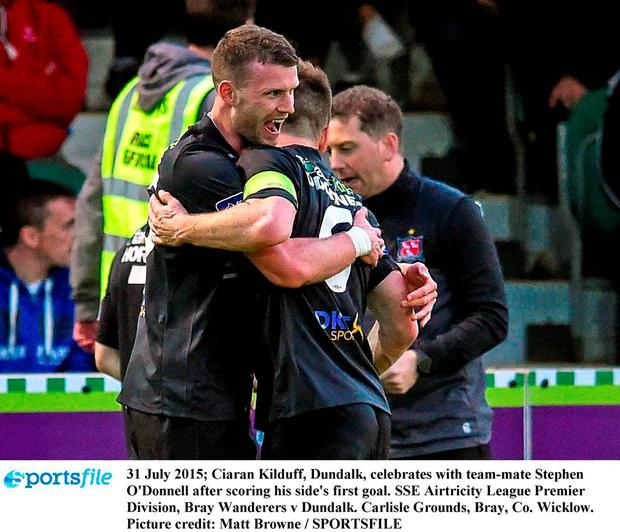 31 July 2015; Ciaran Kilduff, Dundalk, celebrates with team-mate Stephen O'Donnell after scoring his side's first goal. SSE Airtricity League Premier Division, Bray Wanderers v Dundalk. Carlisle Grounds, Bray, Co. Wicklow. Picture credit: Matt Browne / SPORTSFILE