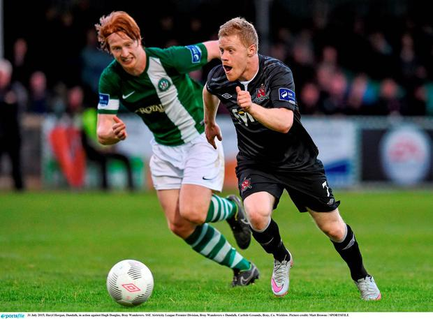 31 July 2015; Daryl Horgan, Dundalk, in action against Hugh Douglas, Bray Wanderers. SSE Airtricity League Premier Division, Bray Wanderers v Dundalk. Carlisle Grounds, Bray, Co. Wicklow. Picture credit: Matt Browne / SPORTSFILE