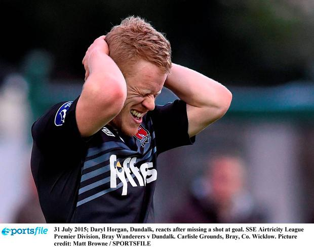 31 July 2015; Daryl Horgan, Dundalk, reacts after missing a shot at goal. SSE Airtricity League Premier Division, Bray Wanderers v Dundalk. Carlisle Grounds, Bray, Co. Wicklow. Picture credit: Matt Browne / SPORTSFILE