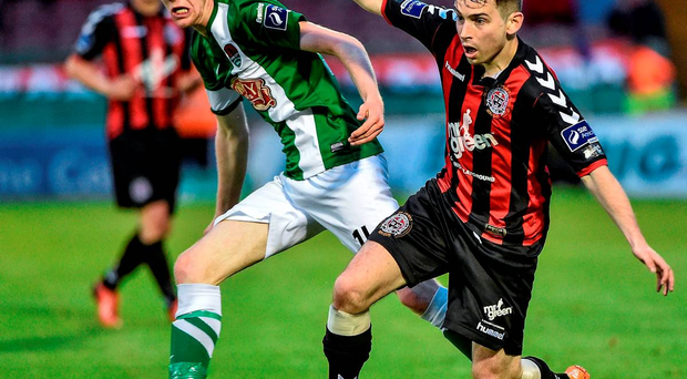 31 July 2015; Karl Moore, Bohemians, in action against Kevin O'Connor, Cork City. SSE Airtricity League Premier Division, Cork City v Bohemians. Turners Cross, Cork. Picture credit: David Maher / SPORTSFILE