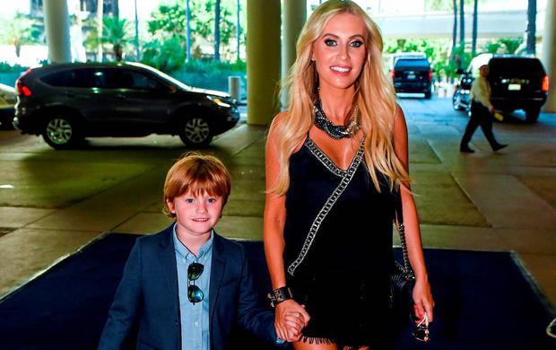 Team Ireland ambassadors Claudine Keane and her son Robert, six years, arrive for a Special Olympics Ireland reception to celebrate the Special Olympics World Summer Games. The L.A. Hotel Downtown, Figueroa St, Los Angeles, United States. Picture credit: Ray McManus / SPORTSFILE