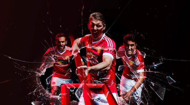 Undated handout photo provided by Adidas of Manchester United's Juan Mata (left), Bastian Schweinsteiger (centre) and Ander Herrera wearing their sides new 2015-16 home kit. PRESS ASSOCIATION Photo. Picture date: Saturday August 1, 2015. See PA story SOCCER Man Utd. Photo credit should read: Adidas/PA Wire. NOTE TO EDITORS: This handout photo may only be used in for editorial reporting purposes for the contemporaneous illustration of events, things or the people in the image or facts mentioned in the caption. Reuse of the picture may require further permission from the copyright holder.