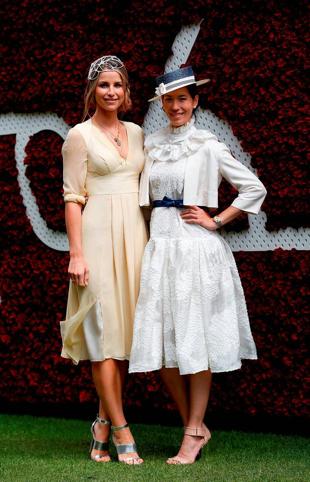 Vogue Williams (L) attends day four of the Qatar Goodwood Festival at Goodwood Racecourse on July 31, 2015 in Chichester, England. (Photo by Tristan Fewings/Getty Images for Qatar Goodwood Festival)