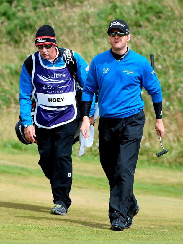 Michael Hoey on the 5th green during round 2 of the Saltire Energy Paul Lawrie Matchplay at Murcar Links Golf Course on July 31, 2015 in Aberdeen, Scotland. (Photo by Ross Kinnaird/Getty Images)