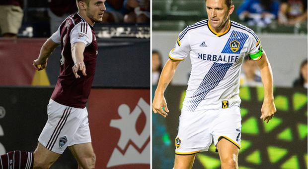 Kevin Doyle and (right) Robbie Keane