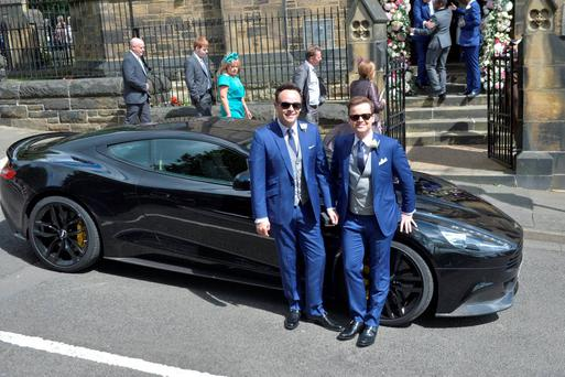 Ant McPartlin (left) with groom Declan Donnelly before his wedding to Ali Astall, at St Michael's Church, Elswick, Newcastle. PRESS ASSOCIATION
