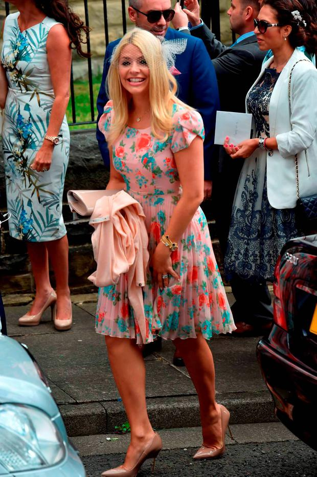Holly Willoughby attends the wedding of Declan Donnelly and Ali Astall, at St Michael's Church, Elswick, Newcastle. PRESS ASSOCIATION