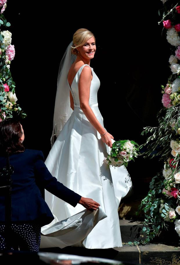 Bride Ali Astall arrives at her wedding to Declan Donnelly at St Michael's Church, Elswick, Newcastle. PRESS ASSOCIATION