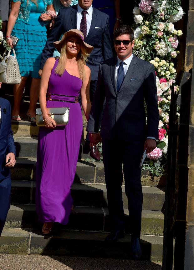 Tess Daly and Vernon Kay (right) after the wedding of Declan Donnelly and Ali Astall, at St Michael's Church, Elswick, Newcastle. Owen Humphreys/PA Wire