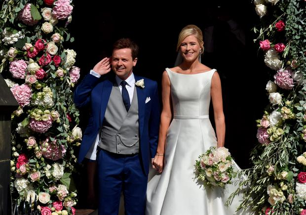 Newly married Declan Donnelly and Ali Astall after their wedding at St Michael's Church, Elswick, Newcastle. Owen Humphreys/PA Wire