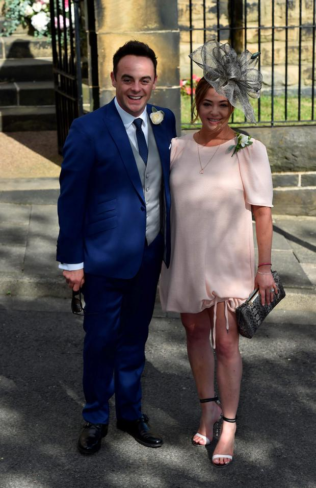 Ant McPartlin and wife Lisa Armstrong after the wedding of Declan Donnelly and Ali Astall, at St Michael's Church, Elswick, Newcastle Owen Humphreys/PA Wire
