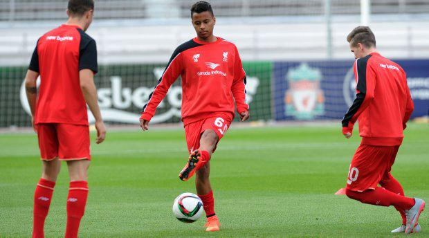 Allan Rodrigues de Souza of Liverpool FC in action before the pre season friendly against HJK Helsinki at Olympic Stadium