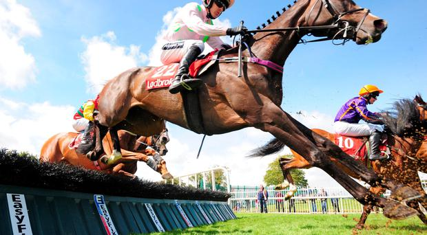 Valyssa Monterg ridden by Ruby Walsh go on to win the Ladbrokes Handicap Hurdle during day six of the Galway Festival at Galway Racecourse, Ballybrit