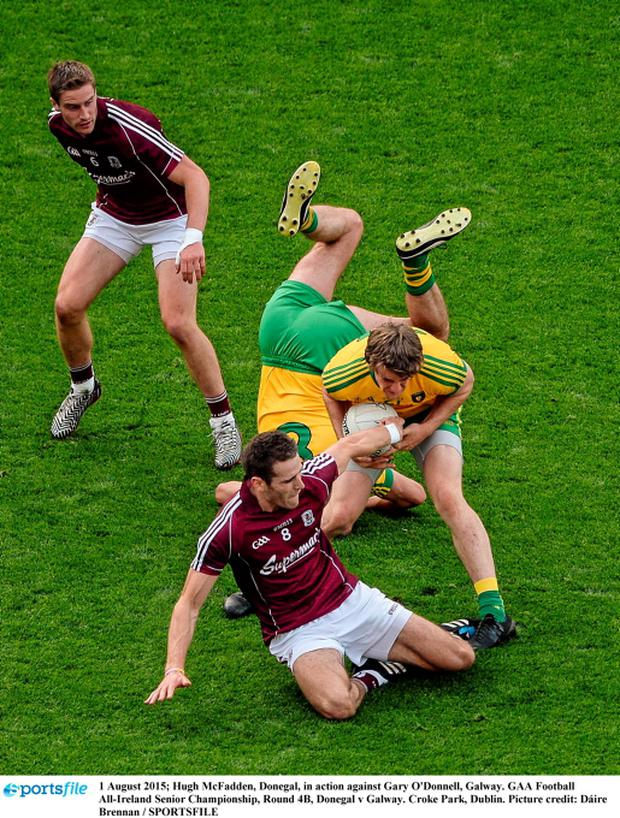 Hugh McFadden, Donegal, in action against Gary O'Donnell, Galway