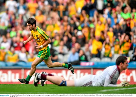 Donegal's Ryan McHugh celebrates scoring his side's second goal past Brian O'Donoghue, Galway. GAA Football All-Ireland Senior Championship