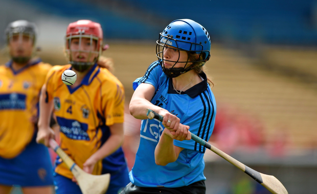 Aisling Maher, Dublin, in action against Aoife Griffin, Clare