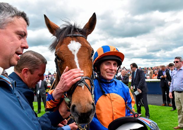Gleneagles with Ryan Moore after their Irish 2,000 Guineas triumph