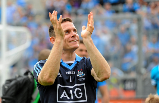 Dublin captain Stephen Cluxton celebrates after the game