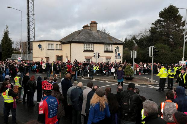 PROTEST: Locals stage a protest outside Stepaside garda station in South County Dublin which was closed in 2013