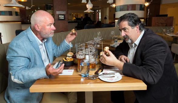 TEA FOR TWO: Liam Collins enjoys a Gentlemen's Afternoon Tea in The Morrison Hotel, D1, with Robbie Fox. Photo: Tony Gavin