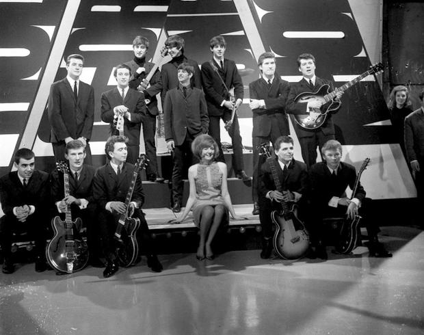 File photo dated 15/12/1963 of rehearsals at Alpha studios, Birmingham, for ABC's 'Thank Your Lucky Stars' programme with Brian Matthew, Cilla Black (centre), The Beatles (back), Billy J. Kramer and the Dakotas, Gerry and the Pacemakers and The Searchers. Photo: PA Wire