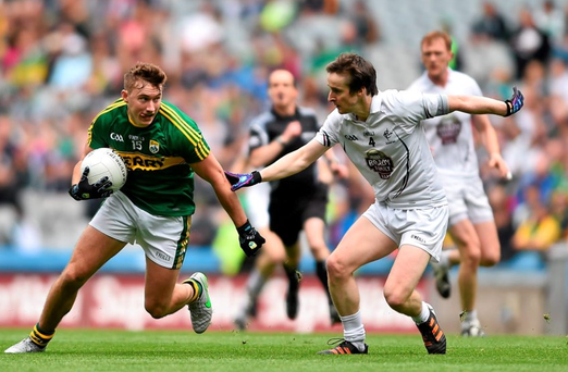 Kerry's James O'Donoghue in action against Ollie Lyons of Kildare.