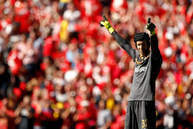 Arsenal's Petr Cech celebrates at the end of the match