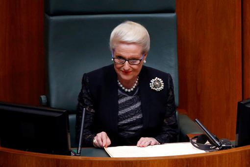 Speaker of the House of Representatives Bronwyn Bishop listens to a speech in Australia's Parliament House in Canberra in this picture taken November 17, 2014. REUTERS/David Gray