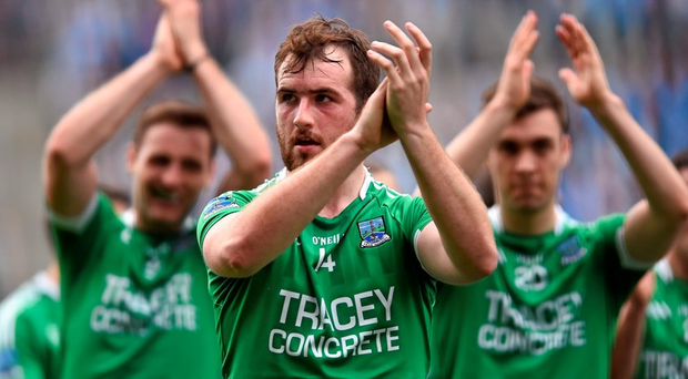 Fermanagh's Sean Quigley thanks supporters after the game.