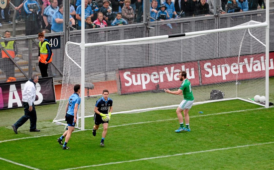 2 August 2015; Se?n Quigley, Fermanagh, looks towards the umpire to award a goal for his side after Dublin goalkeeper Stephen Cluxton carried the ball over the line. GAA Football All-Ireland Senior Championship Quarter-Final, Dublin v Fermanagh. Croke Park, Dublin. Picture credit: D?ire Brennan / SPORTSFILE