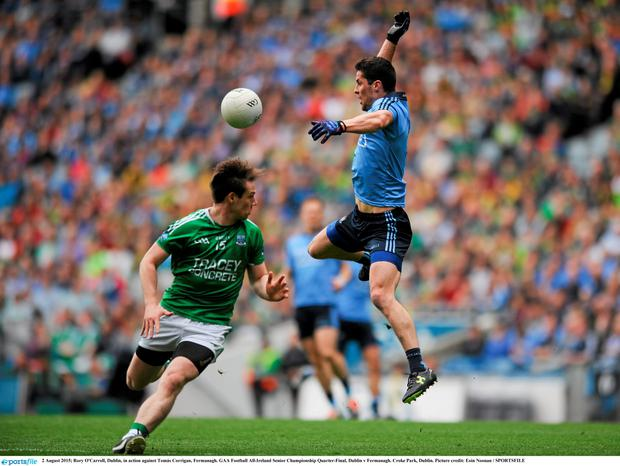 Rory O'Carroll, Dublin, in action against Tom?s Corrigan, Fermanagh