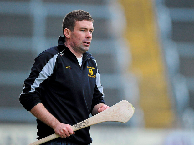 Rathnure manager Willie Cleary watches his team in action against Oulart-the Ballagh