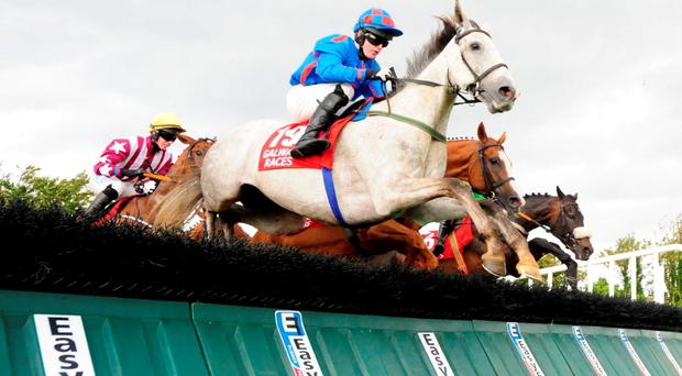 Slygufftou and Luke Dempsey jumping their way to victory in yesterday's Galway Shopping Centre Handicap Hurdle