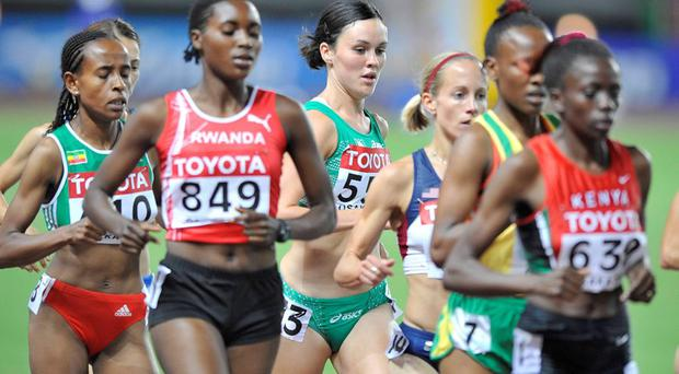Ireland's Mary Cullen, centre, competing during her heat of the Women's 5000m at the 2007 World Championships