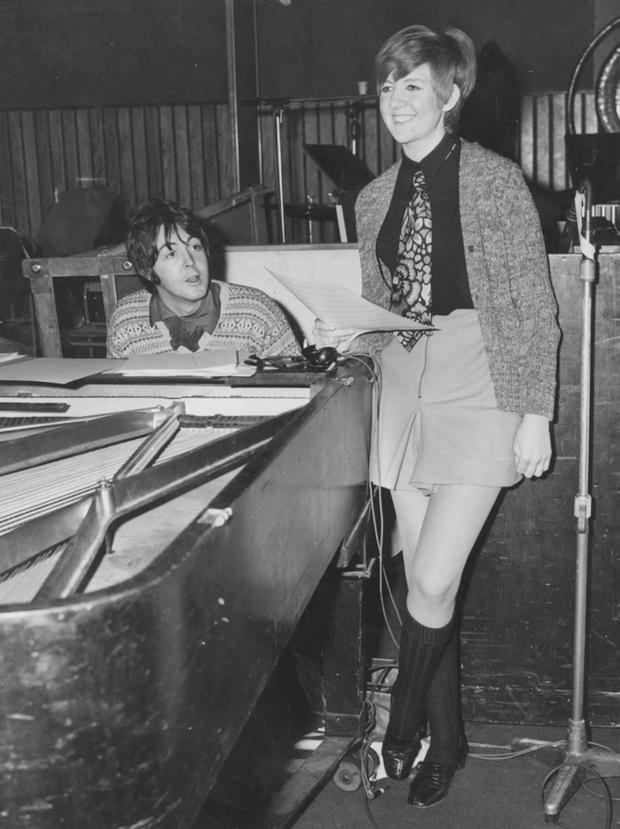 The singer rehearsing with Paul McCartney