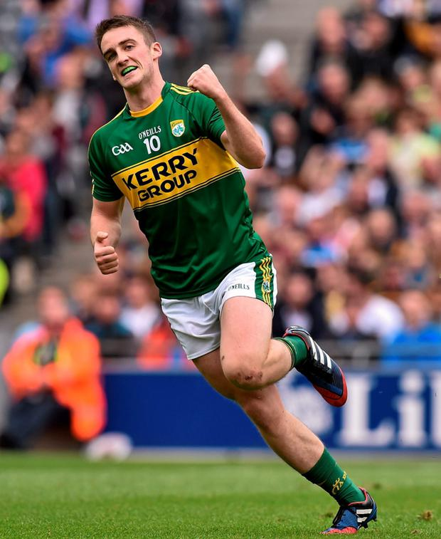 2 August 2015;Stephen O'Brien , Kerry, celebrate's after scoirng his side's sixth goal. GAA Football All-Ireland Senior Championship Quarter-Final, Kerry v Kildare. Croke Park, Dublin. Picture credit: David Maher / SPORTSFILE