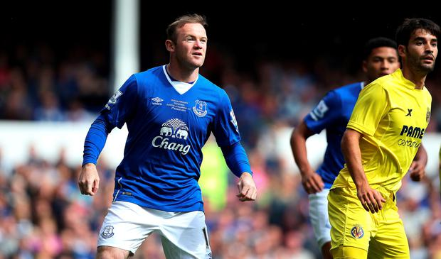 Manchester United's Wayne Rooney comes off the bench to play for Everton, during a testimonial match at Goodison Park in 2015