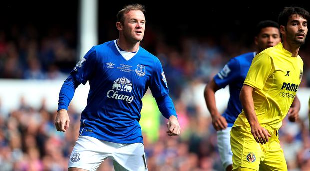 Manchester United's Wayne Rooney comes off the bench for Everton, during the pre-season friendly match at Goodison Park
