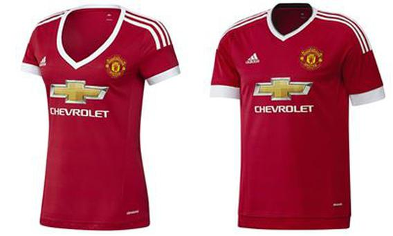 The men's and women's Manchester United strip for the 2015/16 season
