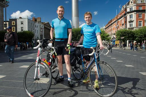 Sean Rowland (27) and Cian Whooley (28) set off on a 9 week charity cycle to Istanbul from O'Connell St. (Photo: Doug.ie)