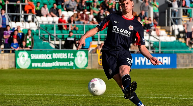 Ian Morris of St Patrick's Athletic scores the winning penalty in the penalty shoot-out. EA Sports Cup Semi-Final, Shamrock Rovers v St Patrick's Athletic. Tallaght Stadium, Tallaght Co. Dublin. Picture credit: David Maher / SPORTSFILE