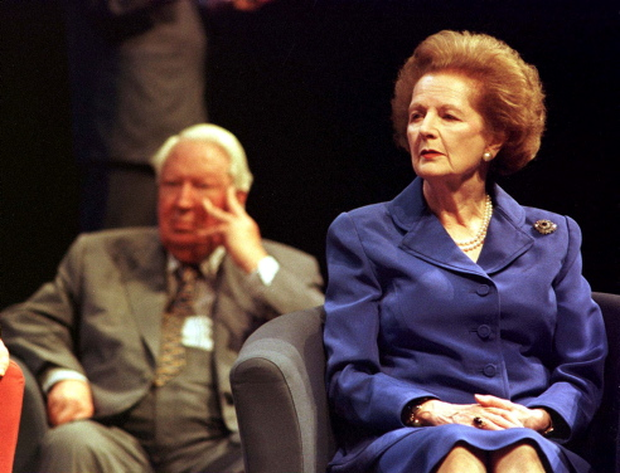 Former Conservative prime ministers Edward Heath and Baroness Thatcher, who replaced him, listen to speeches at the Conservative Party annual conference in Bournemouth in 1998. The two had a frosty and acrimonious political relationship.